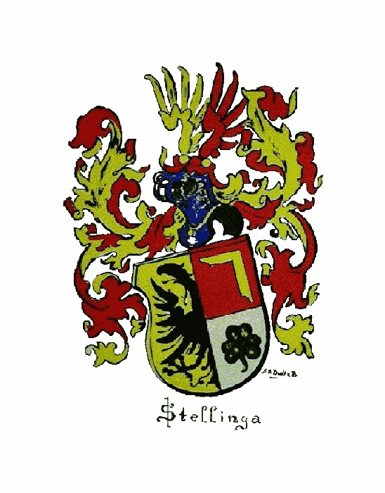 This family coat of arms has been found on the tombstone of Herdt Hessels Stellinga (1545-1618) in Minnertsga (Friesland). It is officially recognized in the Frisian Jier Book of 1963.